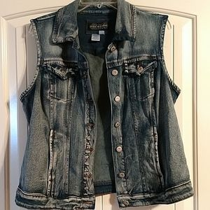 Live a little blue jean denim vest with stretch
